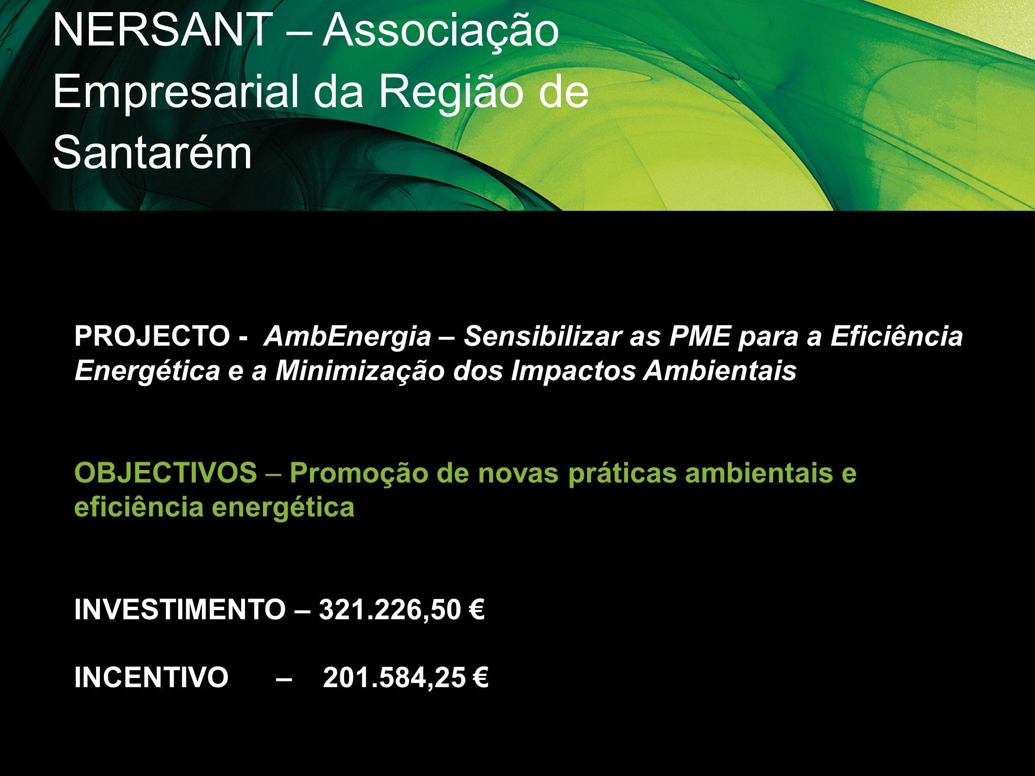 NERSANT – Associação Empresarial da Região de Santarém PROJECTO - AmbEnergia – Sensibilizar as PME para a Eficiência Energética e a Minimização dos Im