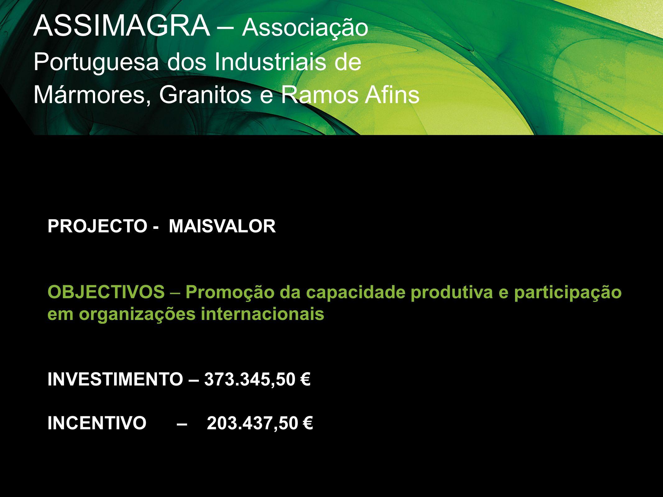 ASSIMAGRA – Associação Portuguesa dos Industriais de Mármores, Granitos e Ramos Afins PROJECTO - MAISVALOR OBJECTIVOS – Promoção da capacidade produti