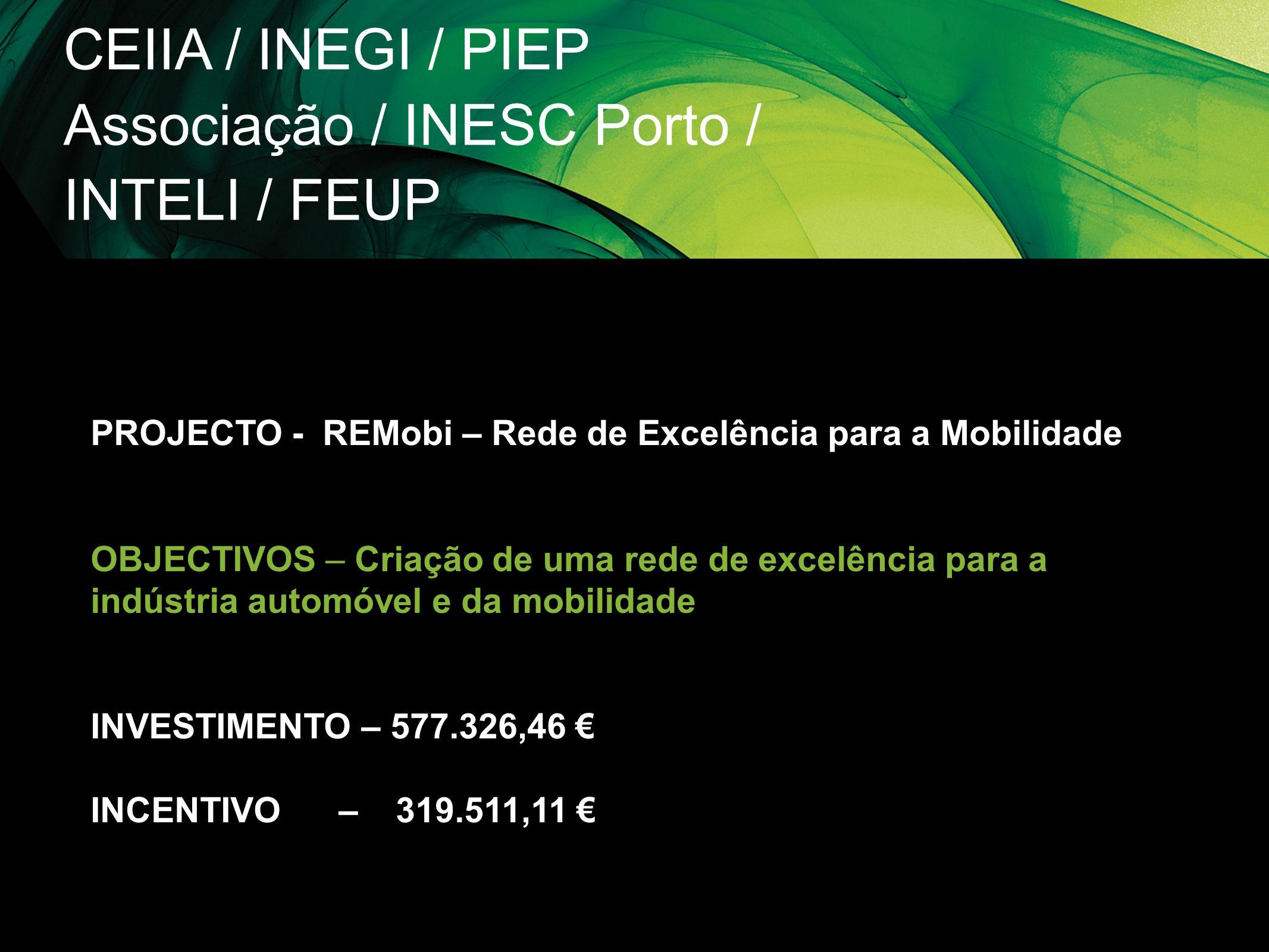 CEIIA / INEGI / PIEP Associação / INESC Porto / INTELI / FEUP PROJECTO - REMobi – Rede de Excelência para a Mobilidade OBJECTIVOS – Criação de uma red