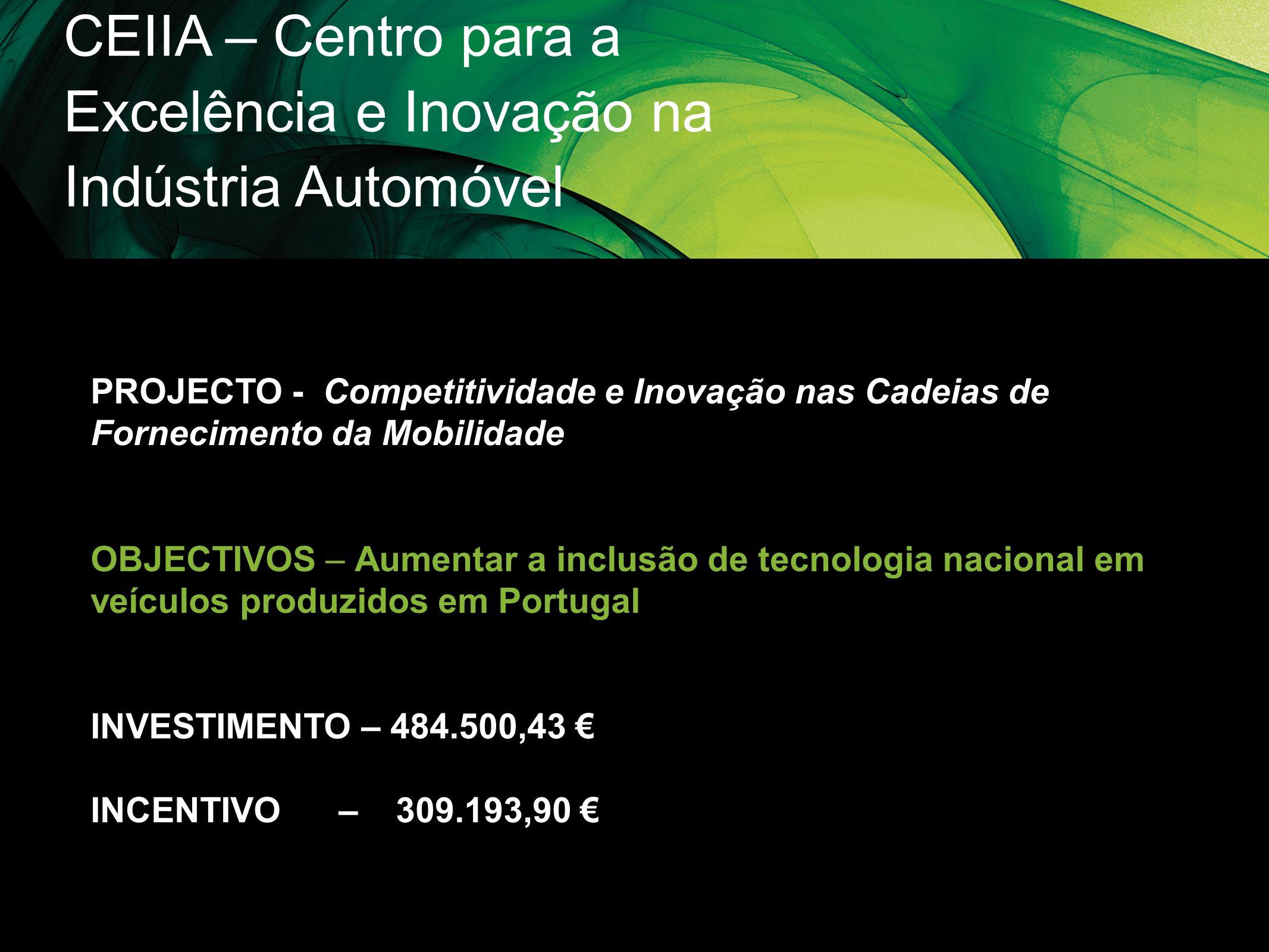 CEIIA – Centro para a Excelência e Inovação na Indústria Automóvel PROJECTO - Competitividade e Inovação nas Cadeias de Fornecimento da Mobilidade OBJ