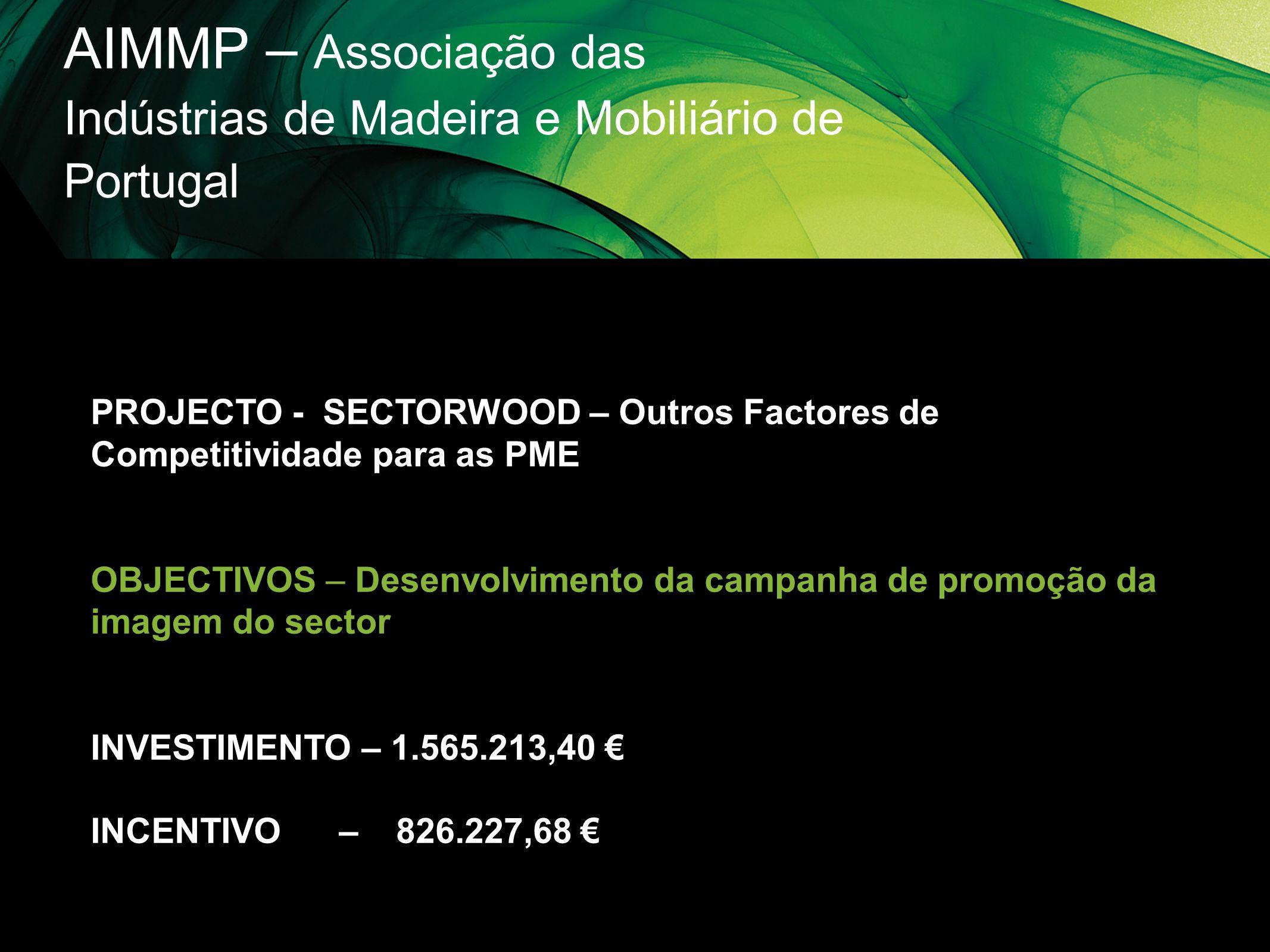 AIMMP – Associação das Indústrias de Madeira e Mobiliário de Portugal PROJECTO - SECTORWOOD – Outros Factores de Competitividade para as PME OBJECTIVO