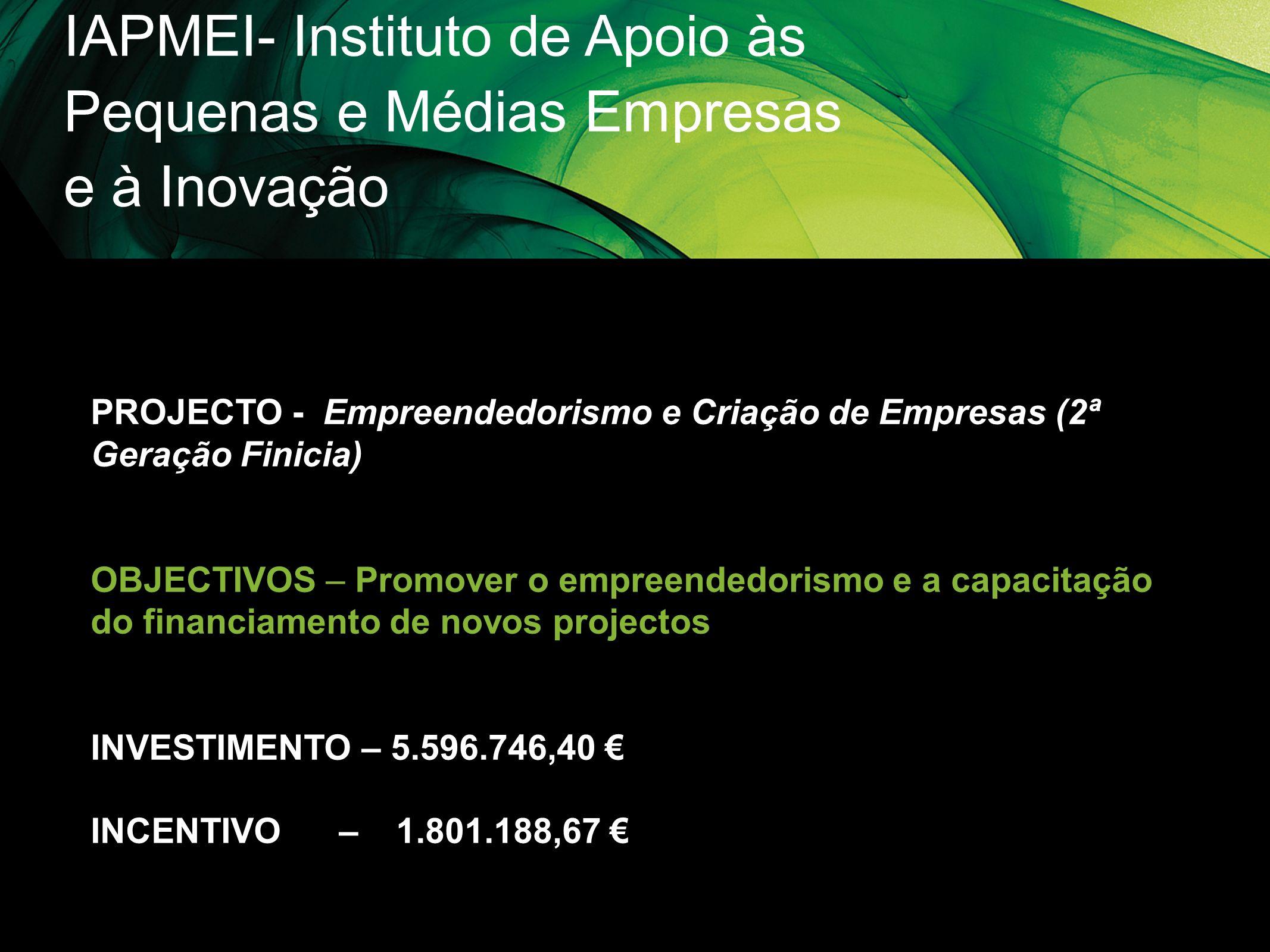 IAPMEI- Instituto de Apoio às Pequenas e Médias Empresas e à Inovação PROJECTO - Empreendedorismo e Criação de Empresas (2ª Geração Finicia) OBJECTIVO