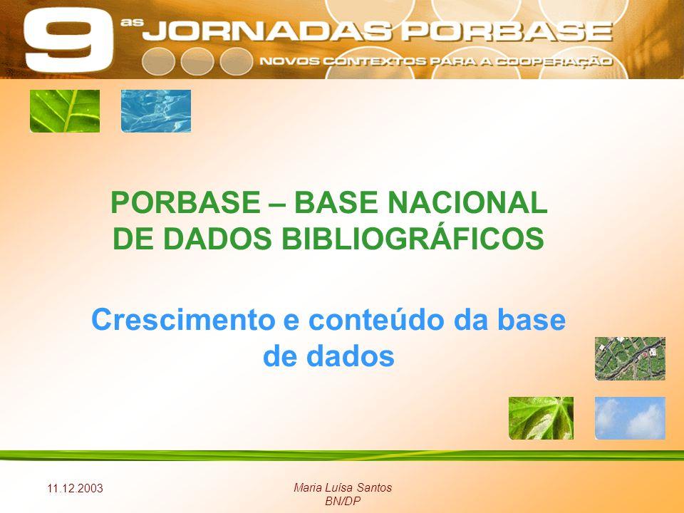 11.12.2003 Maria Luísa Santos BN/DP PORBASE – BASE NACIONAL DE DADOS BIBLIOGRÁFICOS Crescimento e conteúdo da base de dados