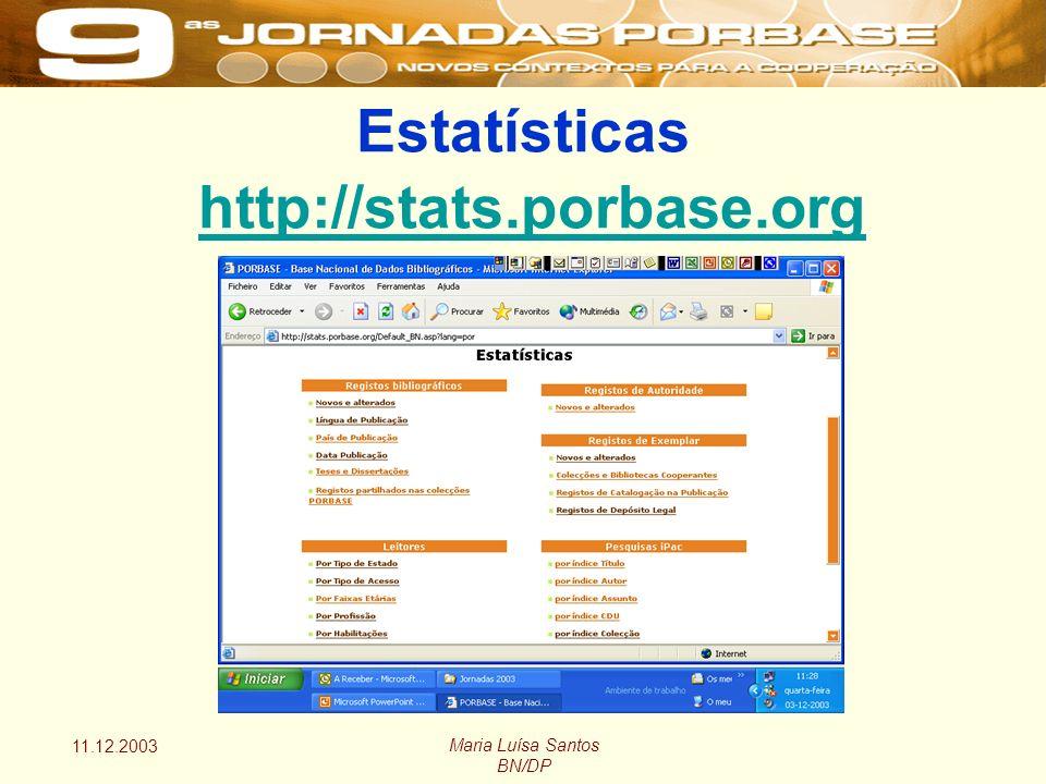 11.12.2003 Maria Luísa Santos BN/DP Estatísticas http://stats.porbase.org http://stats.porbase.org