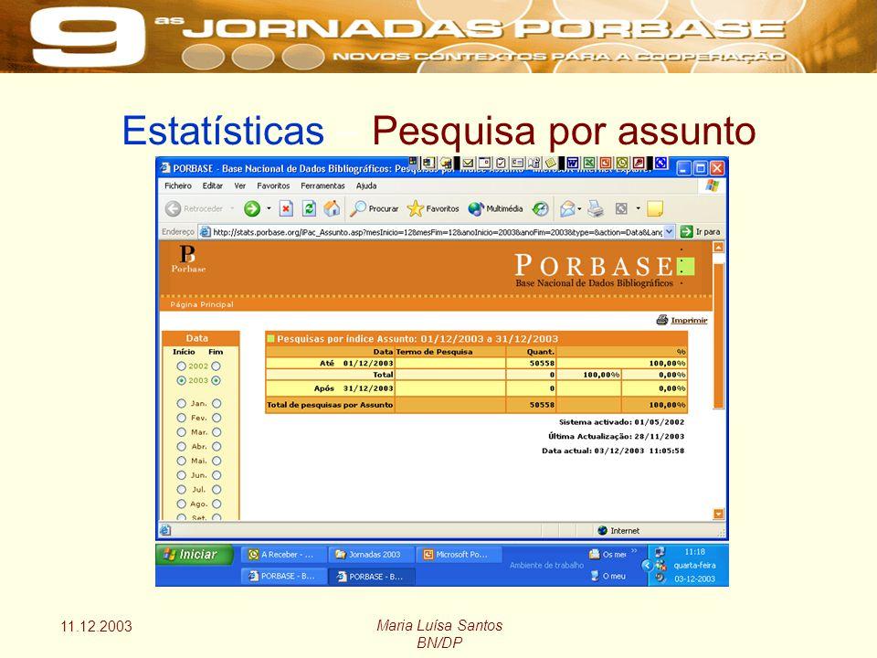 11.12.2003 Maria Luísa Santos BN/DP Estatísticas – Pesquisa por assunto