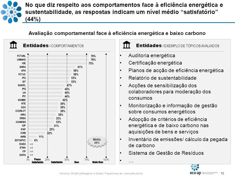 12 Workshop Eficiência Energética no Estado: Programa eco.ap – discussão pública No que diz respeito aos comportamentos face à eficiência energética e