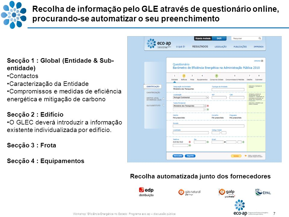 7 Workshop Eficiência Energética no Estado: Programa eco.ap – discussão pública Recolha de informação pelo GLE através de questionário online, procura