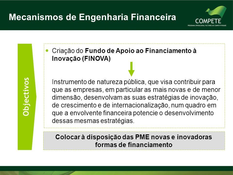 Objectivos Criação do Fundo de Apoio ao Financiamento à Inovação (FINOVA) Instrumento de natureza pública, que visa contribuir para que as empresas, e