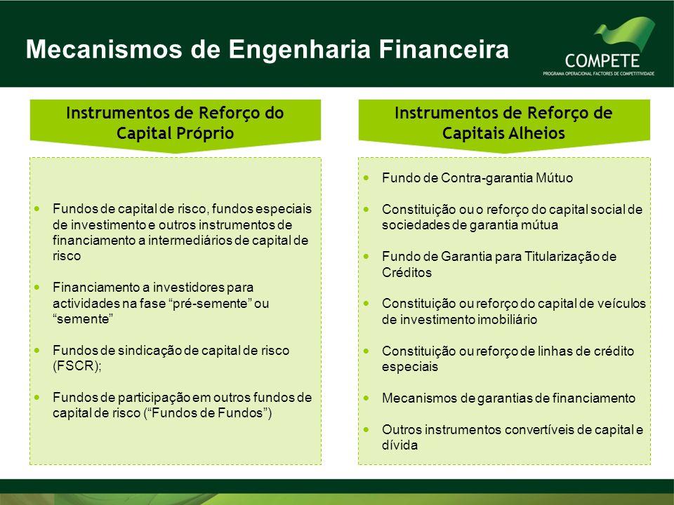 Fundos de capital de risco, fundos especiais de investimento e outros instrumentos de financiamento a intermediários de capital de risco Financiamento