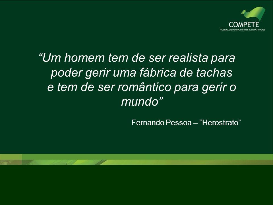 Um homem tem de ser realista para poder gerir uma fábrica de tachas e tem de ser romântico para gerir o mundo Fernando Pessoa – Herostrato