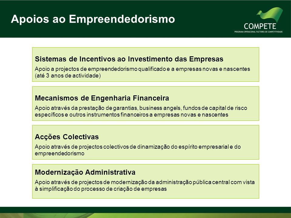 Sistemas de Incentivos às Empresas SI Qualificação PME Promover a competitividade das PME através de uma intervenção no domínio dos factores dinâmicos/imateriais de competitividade (aumento de: produtividade / flexibilidade / capacidade de resposta aos desafios do mercado global) SI I&DT Intensificar o esforço nacional de I&DT empresarial Criar novos conhecimentos que aumentem a competitividade das empresas Promover a cooperação e o desenvolvimento de projectos de I&DT entre empresas e entidades do SCT Estimular a demonstração, experimentação tecnológica, a disseminação e a transferência de tecnologia para o sector empresarial SI Inovação Promover a inovação no tecido empresarial, pela produção de novos bens, serviços e processos; Reforçar a orientação das empresas para os mercados internacionais; Estimular o empreendedorismo qualificado e o investimento estruturante em novas áreas com potencial crescimento.