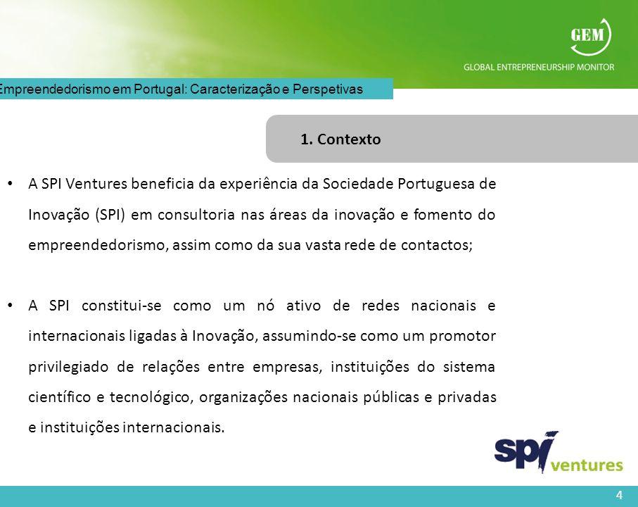 4 O Empreendedorismo em Portugal: Caracterização e Perspetivas 1. Contexto A SPI Ventures beneficia da experiência da Sociedade Portuguesa de Inovação
