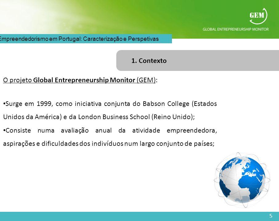 5 O Empreendedorismo em Portugal: Caracterização e Perspetivas 1. Contexto O projeto Global Entrepreneurship Monitor (GEM): Surge em 1999, como inicia