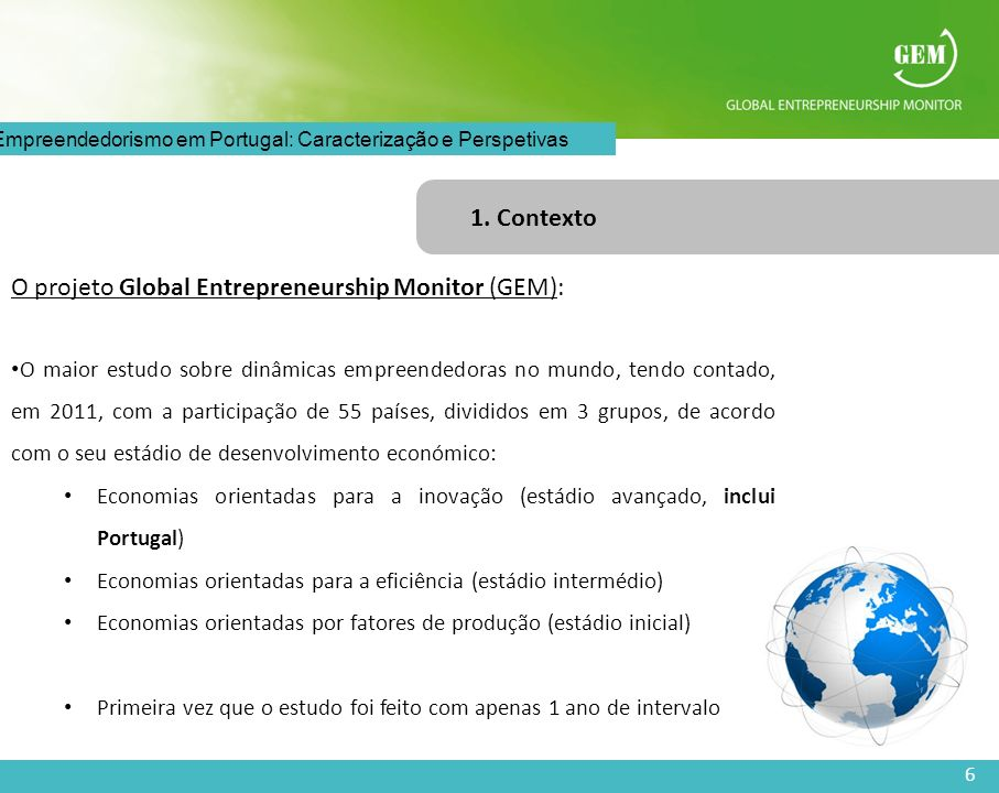 6 O Empreendedorismo em Portugal: Caracterização e Perspetivas 1. Contexto O projeto Global Entrepreneurship Monitor (GEM): O maior estudo sobre dinâm
