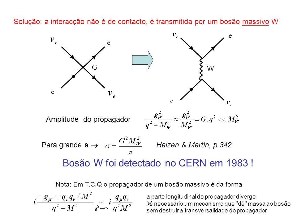 Contudo a introdução do Bosão W também causa problemas Este processo também viola a unitariedade a altas energias aniquilação electrão-positrão Solução : o mesmo processo pode ocorrer através da mediação de um bosão Z as divergências dos dois diagramas cancelam-se Bosão Z também foi detectado no CERN em 1983 .