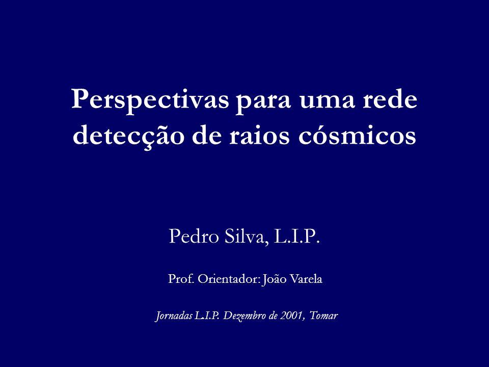 Perspectivas para uma rede detecção de raios cósmicos Pedro Silva, L.I.P. Jornadas L.I.P. Dezembro de 2001, Tomar Prof. Orientador: João Varela