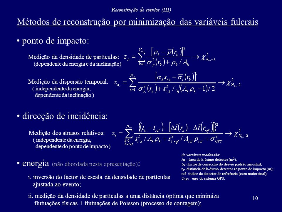 10 Reconstrução de eventos (III) ponto de impacto: direcção de incidência: energia (não abordada nesta apresentação) : Métodos de reconstrução por min