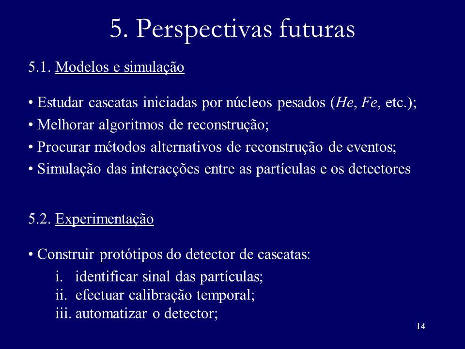 14 5. Perspectivas futuras 5.1. Modelos e simulação Estudar cascatas iniciadas por núcleos pesados (He, Fe, etc.); Melhorar algoritmos de reconstrução