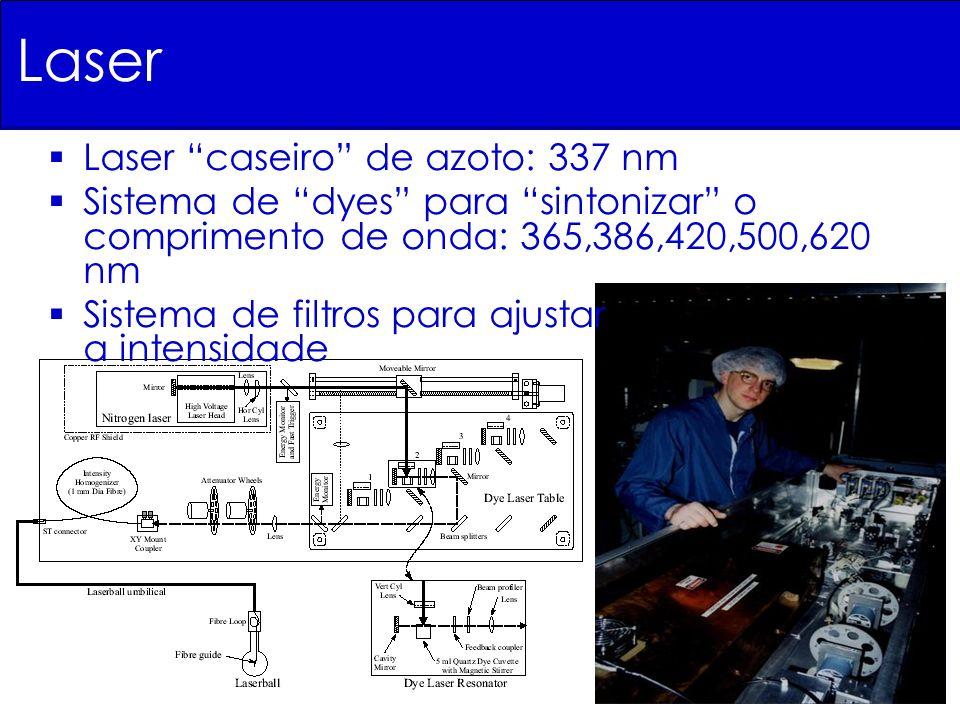 Laser Laser caseiro de azoto: 337 nm Sistema de dyes para sintonizar o comprimento de onda: 365,386,420,500,620 nm Sistema de filtros para ajustar a i