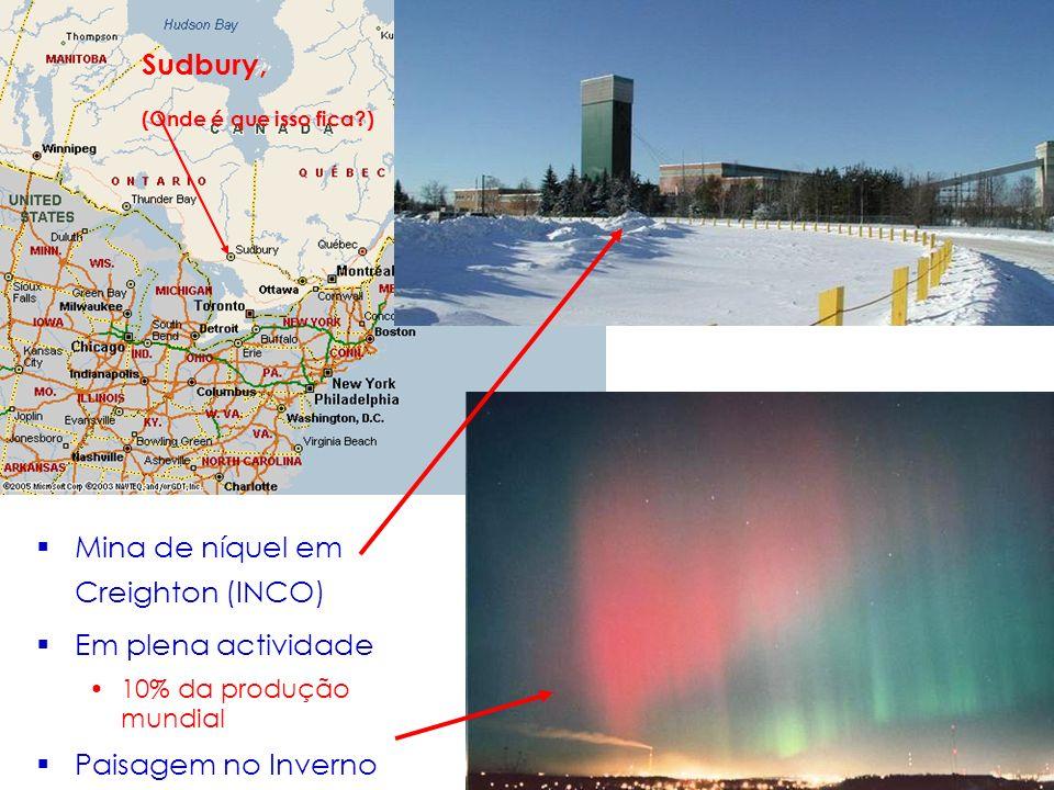 Mina de níquel em Creighton (INCO) Em plena actividade 10% da produção mundial Paisagem no Inverno Sudbury, (Onde é que isso fica?)