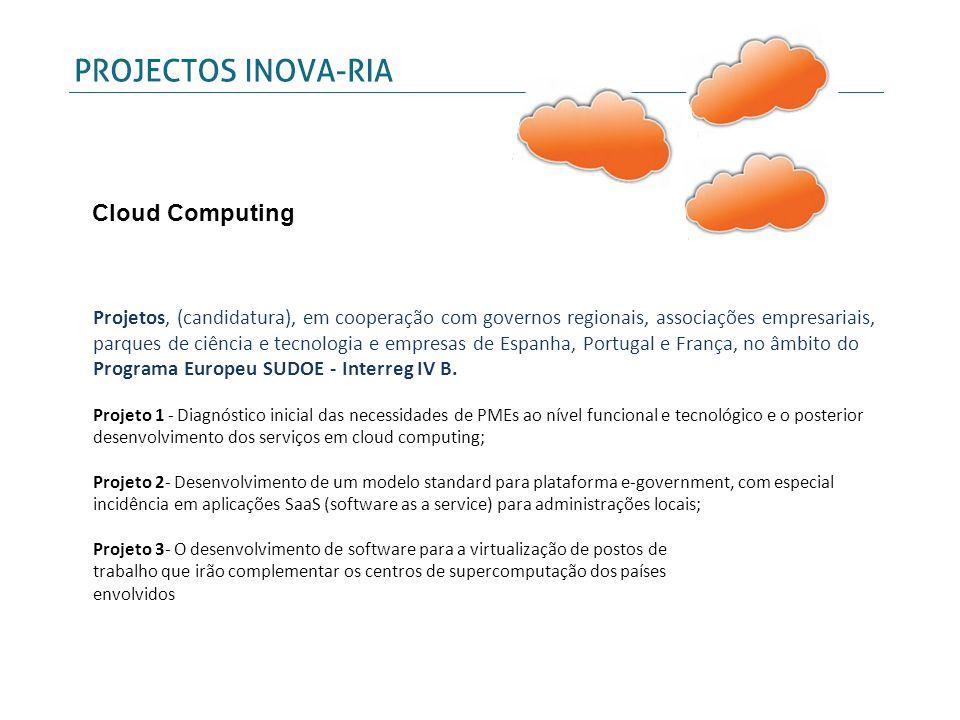 Projetos, (candidatura), em cooperação com governos regionais, associações empresariais, parques de ciência e tecnologia e empresas de Espanha, Portug