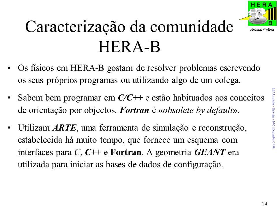 LIP Jornadas - Ericeira - 20-21 Dezembro 1999 Helmut Wolters 14 Caracterização da comunidade HERA-B Os físicos em HERA-B gostam de resolver problemas escrevendo os seus próprios programas ou utilizando algo de um colega.