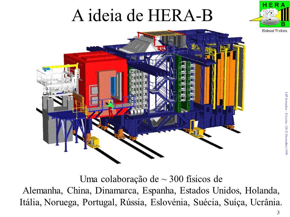 LIP Jornadas - Ericeira - 20-21 Dezembro 1999 Helmut Wolters 3 A ideia de HERA-B Uma colaboração de ~ 300 físicos de Alemanha, China, Dinamarca, Espanha, Estados Unidos, Holanda, Itália, Noruega, Portugal, Rússia, Eslovénia, Suécia, Suíça, Ucrânia.