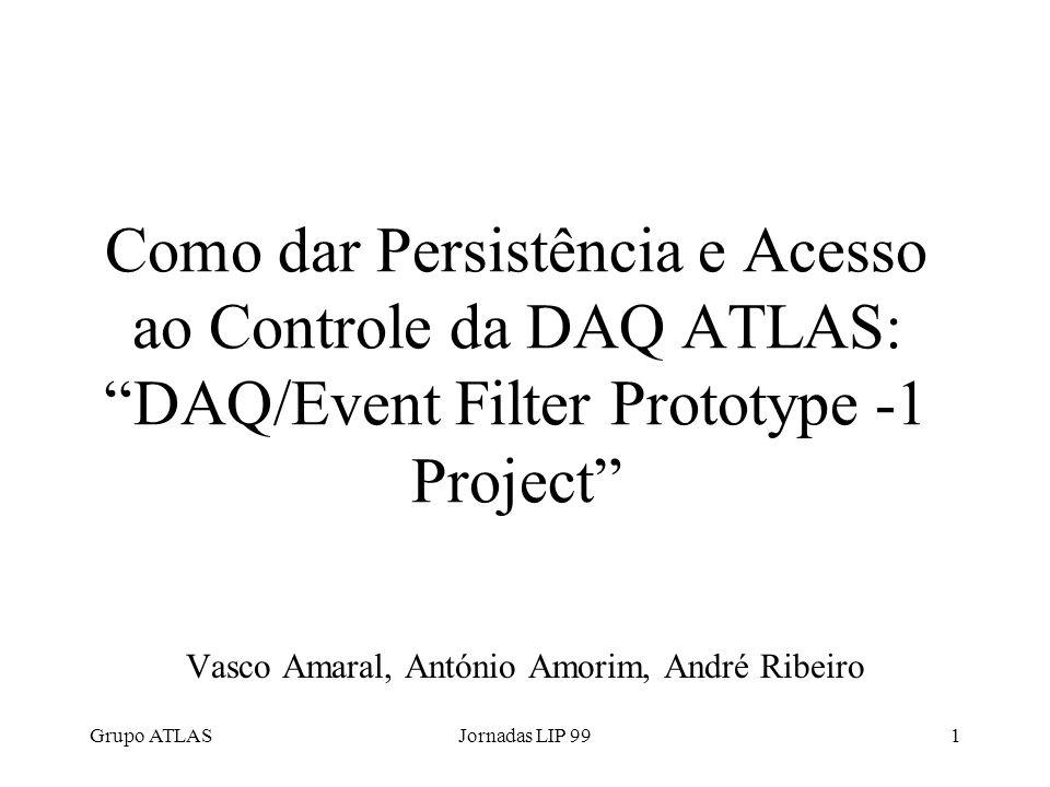 Grupo ATLASJornadas LIP 991 Como dar Persistência e Acesso ao Controle da DAQ ATLAS:DAQ/Event Filter Prototype -1 Project Vasco Amaral, António Amorim, André Ribeiro