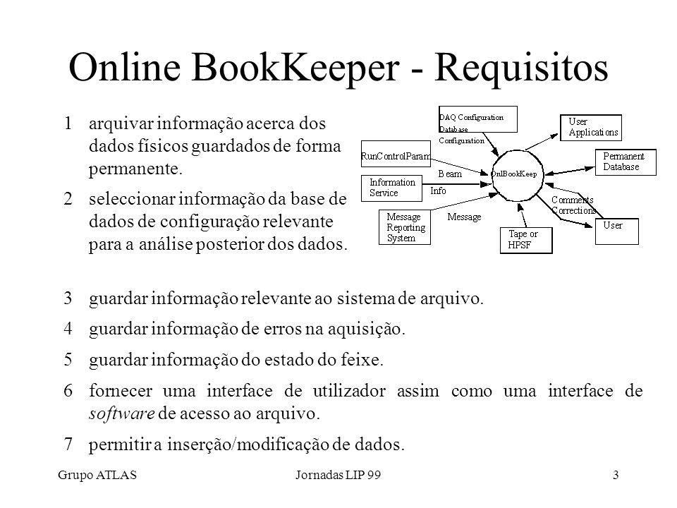 Grupo ATLASJornadas LIP 993 Online BookKeeper - Requisitos 1arquivar informação acerca dos dados físicos guardados de forma permanente.