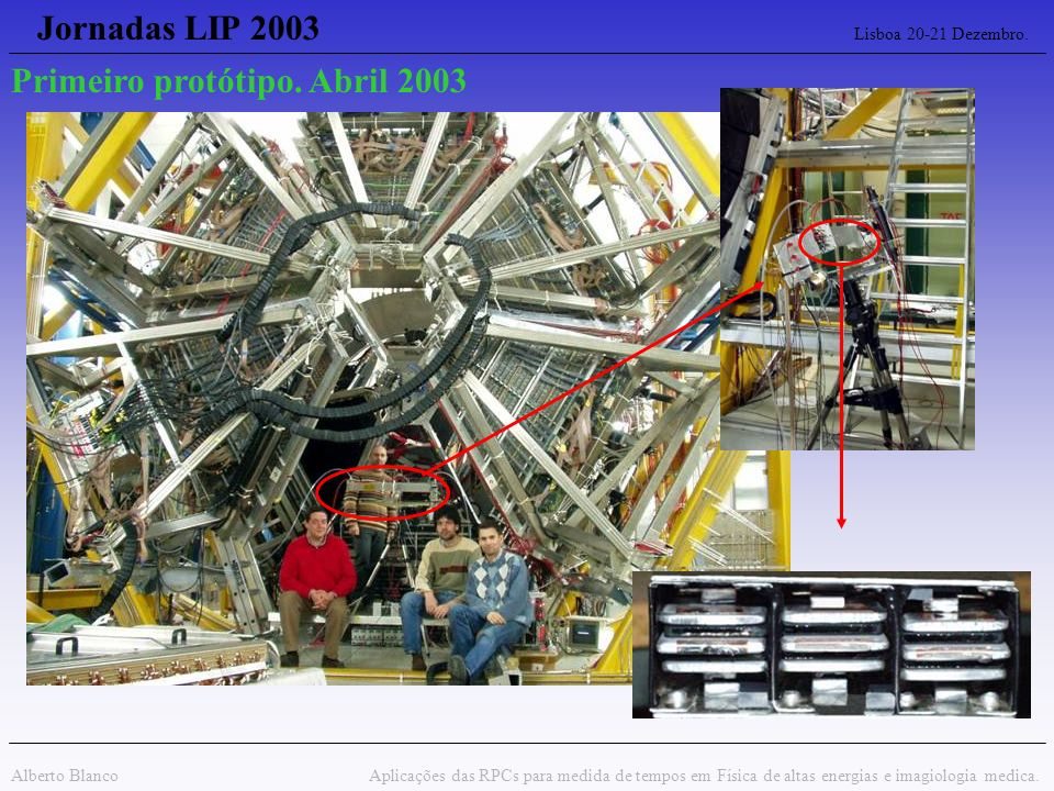 Jornadas LIP 2003 Lisboa 20-21 Dezembro. Alberto Blanco Aplicações das RPCs para medida de tempos em Física de altas energias e imagiologia medica. Pr