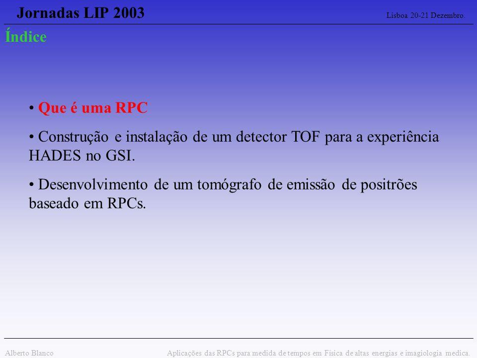 Jornadas LIP 2003 Lisboa 20-21 Dezembro. Alberto Blanco Aplicações das RPCs para medida de tempos em Física de altas energias e imagiologia medica. Qu