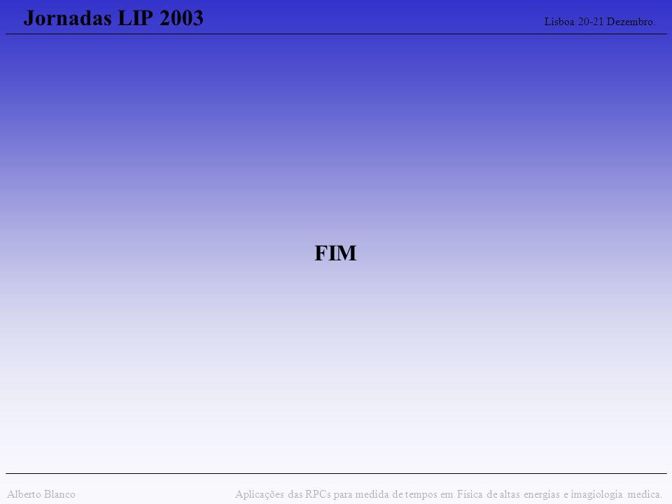 Jornadas LIP 2003 Lisboa 20-21 Dezembro. Alberto Blanco Aplicações das RPCs para medida de tempos em Física de altas energias e imagiologia medica. FI