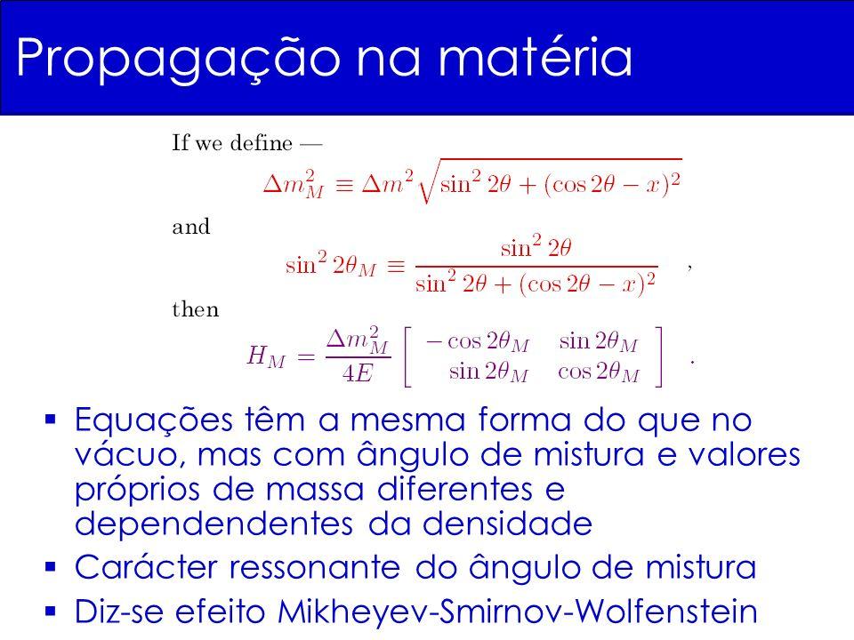 Equações têm a mesma forma do que no vácuo, mas com ângulo de mistura e valores próprios de massa diferentes e dependendentes da densidade Carácter ressonante do ângulo de mistura Diz-se efeito Mikheyev-Smirnov-Wolfenstein