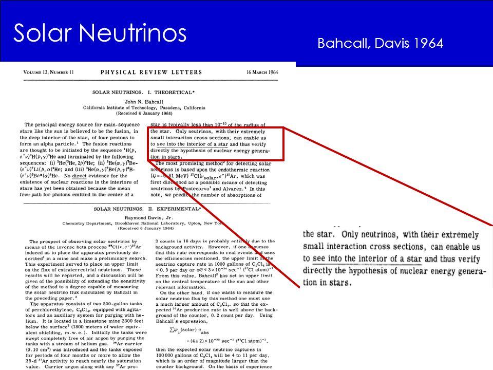 Solar Neutrinos Bahcall, Davis 1964