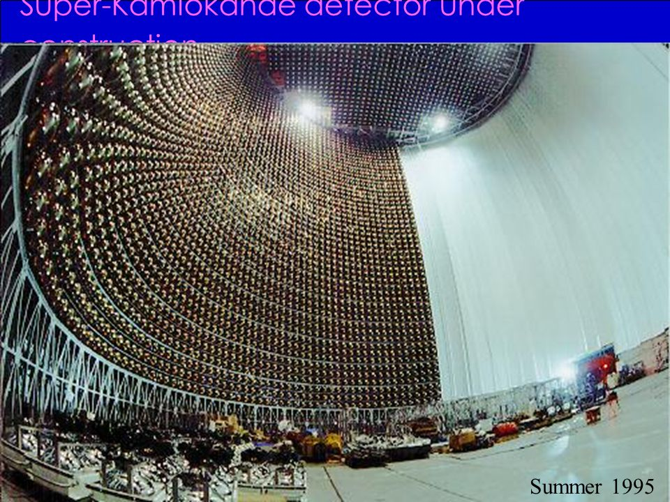 Super-Kamiokande detector under construction Summer 1995