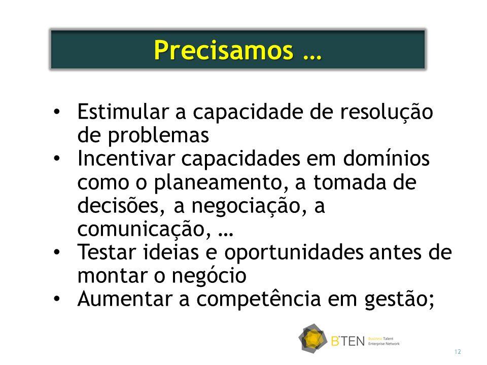 12 Estimular a capacidade de resolução de problemas Incentivar capacidades em domínios como o planeamento, a tomada de decisões, a negociação, a comun