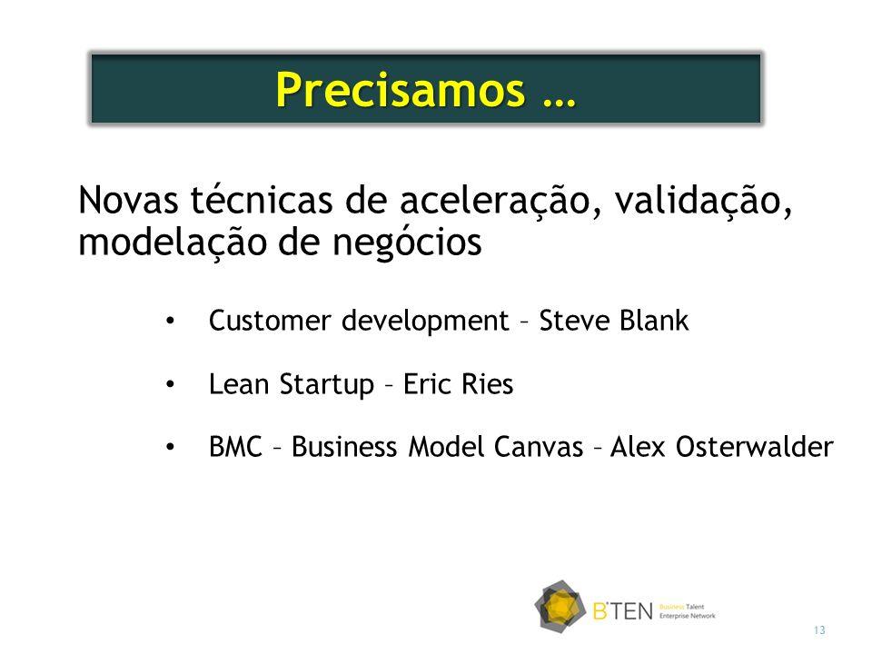 13 Novas técnicas de aceleração, validação, modelação de negócios Customer development – Steve Blank Lean Startup – Eric Ries BMC – Business Model Canvas – Alex Osterwalder Precisamos …