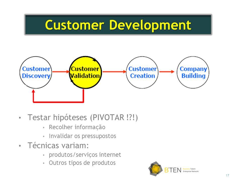 17 Testar hipóteses (PIVOTAR !?!) Recolher informação Invalidar os pressupostos Técnicas variam: produtos/serviços internet Outros tipos de produtos Customer Development