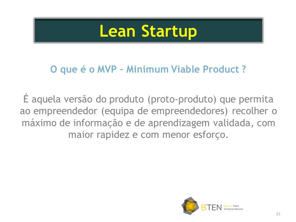 23 O que é o MVP – Minimum Viable Product ? É aquela versão do produto (proto-produto) que permita ao empreendedor (equipa de empreendedores) recolher