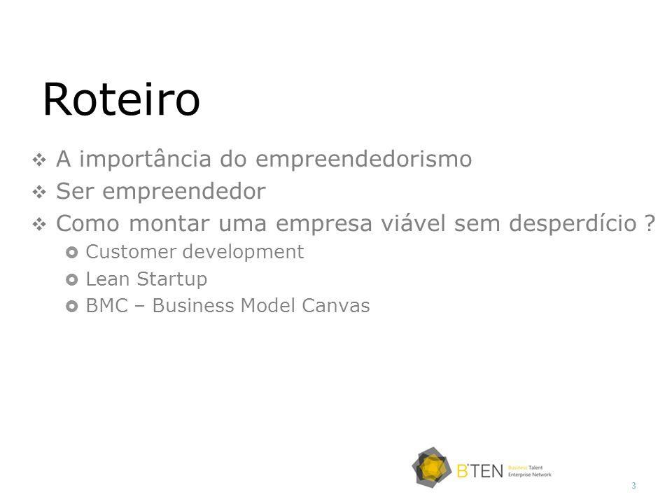 3 A importância do empreendedorismo Ser empreendedor Como montar uma empresa viável sem desperdício ? Customer development Lean Startup BMC – Business