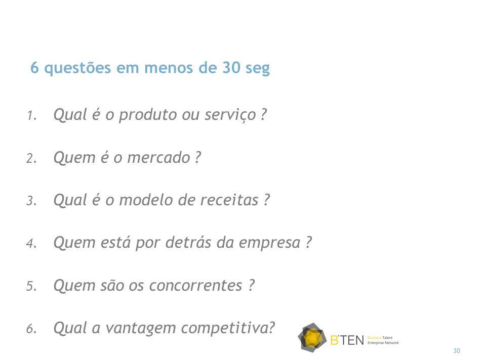 30 6 questões em menos de 30 seg 1. Qual é o produto ou serviço ? 2. Quem é o mercado ? 3. Qual é o modelo de receitas ? 4. Quem está por detrás da em