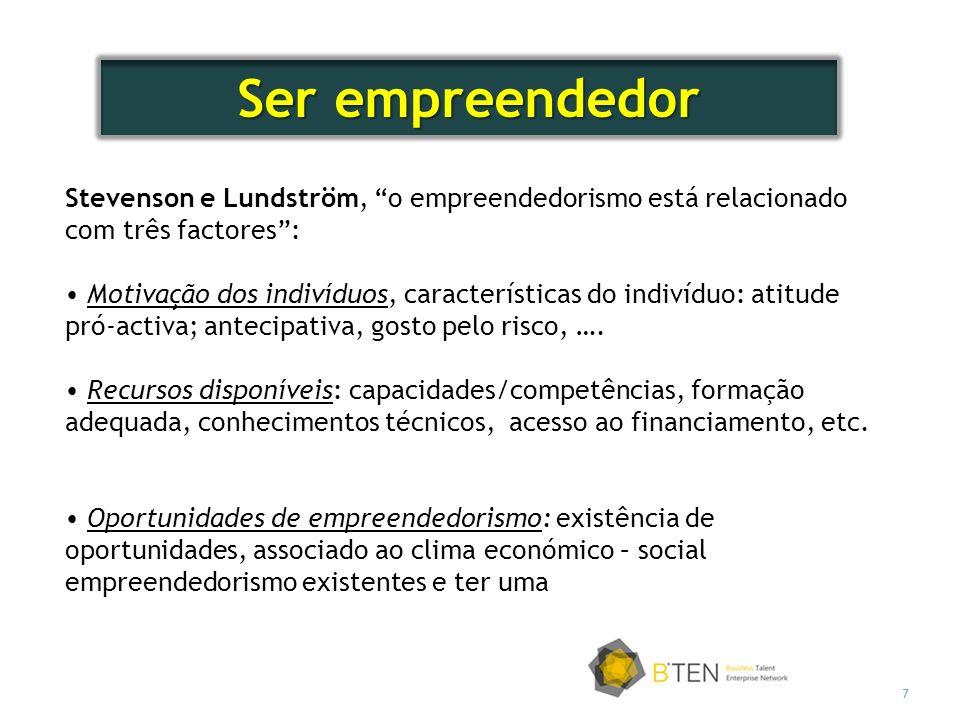 7 Stevenson e Lundström, o empreendedorismo está relacionado com três factores: Motivação dos indivíduos, características do indivíduo: atitude pró-activa; antecipativa, gosto pelo risco, ….