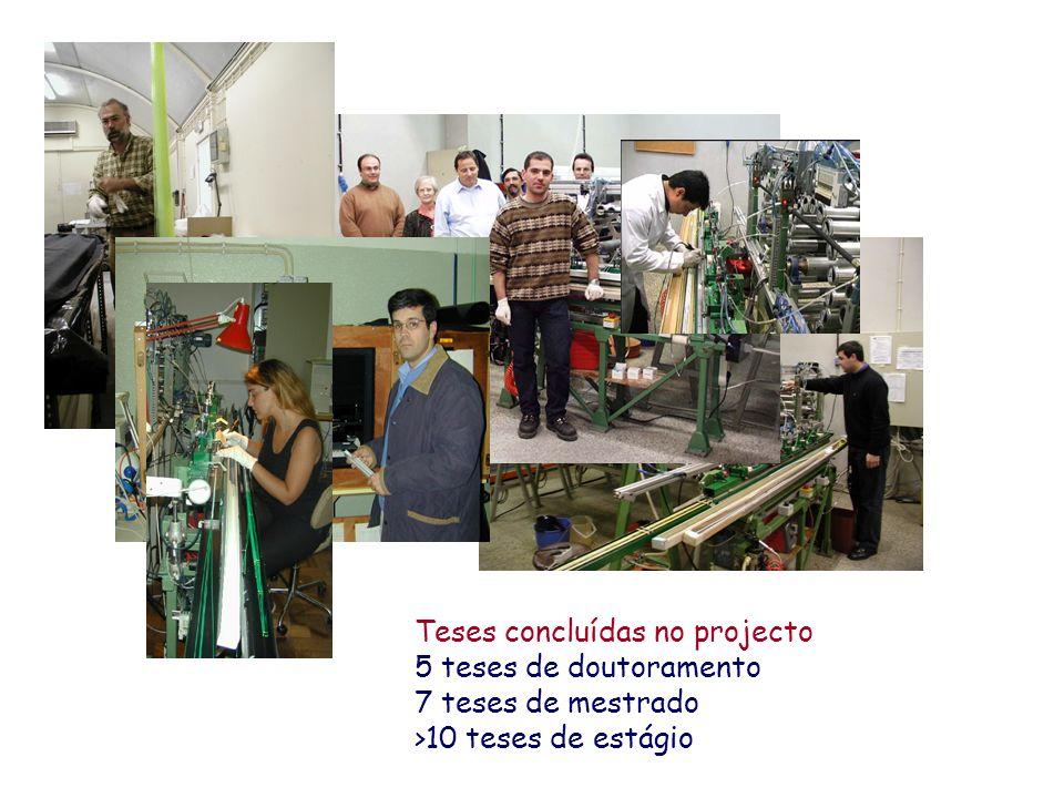 Teses concluídas no projecto 5 teses de doutoramento 7 teses de mestrado >10 teses de estágio