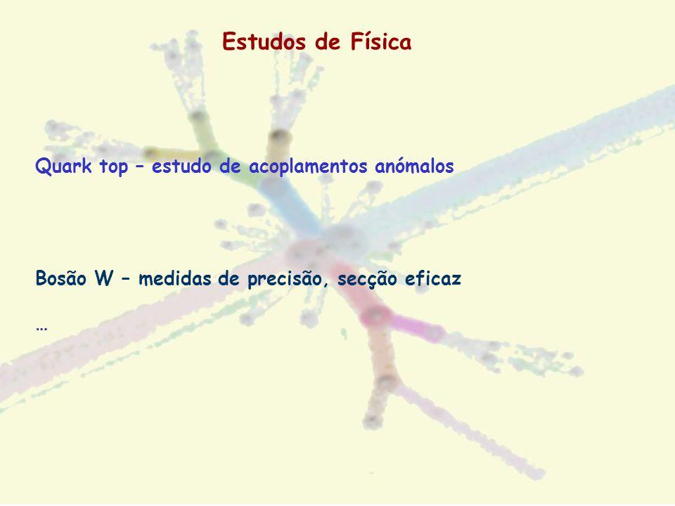 Estudos de Física Quark top – estudo de acoplamentos anómalos Bosão W – medidas de precisão, secção eficaz …