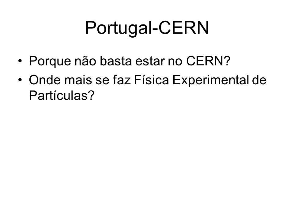 Portugal-CERN Porque não basta estar no CERN? Onde mais se faz Física Experimental de Partículas?