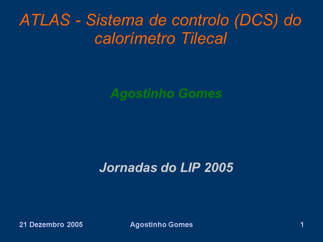 21 Dezembro 2005Agostinho Gomes1 ATLAS - Sistema de controlo (DCS) do calorímetro Tilecal Agostinho Gomes Jornadas do LIP 2005