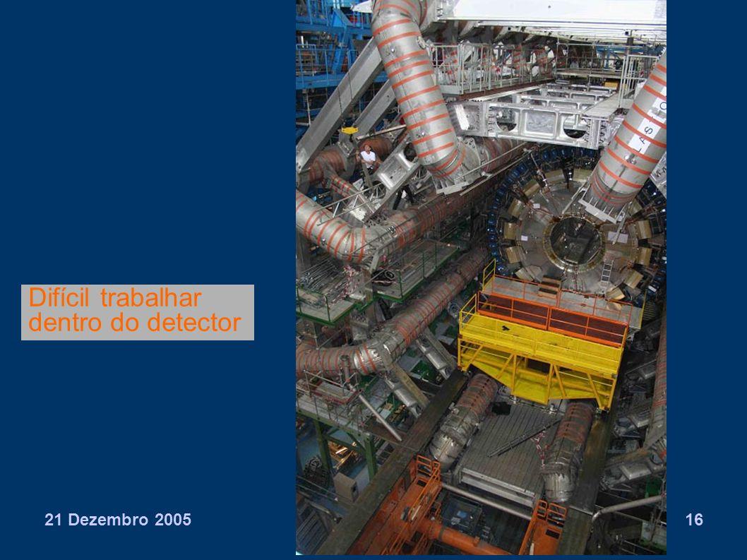 21 Dezembro 2005Agostinho Gomes16 Difícil trabalhar dentro do detector