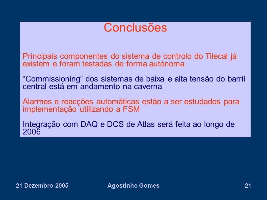 21 Dezembro 2005Agostinho Gomes21 Conclusões Principais componentes do sistema de controlo do Tilecal já existem e foram testadas de forma autónoma Co