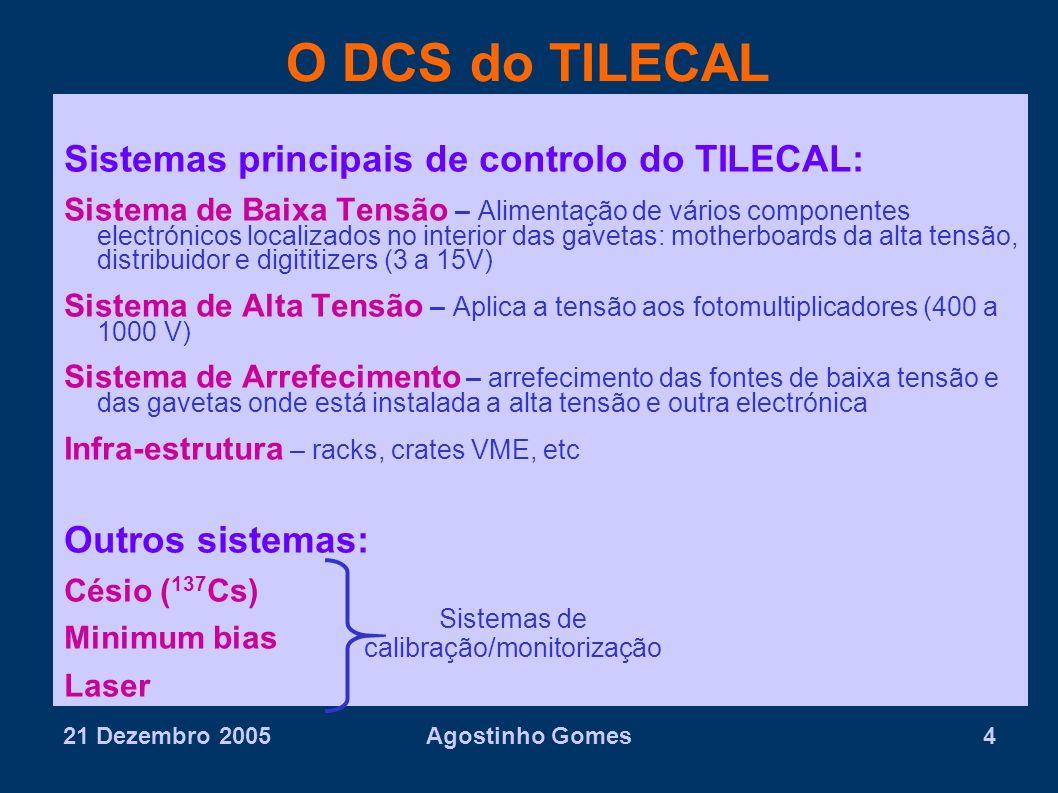 21 Dezembro 2005Agostinho Gomes4 O DCS do TILECAL Sistemas principais de controlo do TILECAL: Sistema de Baixa Tensão – Alimentação de vários componen