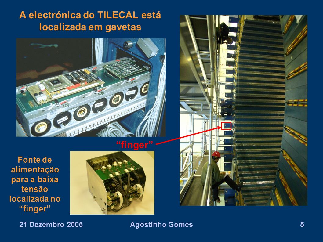 21 Dezembro 2005Agostinho Gomes6 O DCS do TILECAL Back-end: – Sistema distribuido de PCs controlados por software do tipo Supervisory Control And Data Acquisition (SCADA) – O sistema SCADA escolhido foi o programa comercial PVSSII da companhia Austríaca ETM Front-end: – Electrónica do Sistema de Alta tensão: micro boards e opto boards, comunicando via CANbus – ELMB (Embedded Local Monitor Board) – PLCs (Programmable Logical Controller)
